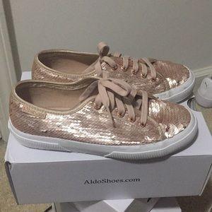 Superga rose gold sequin sneakers